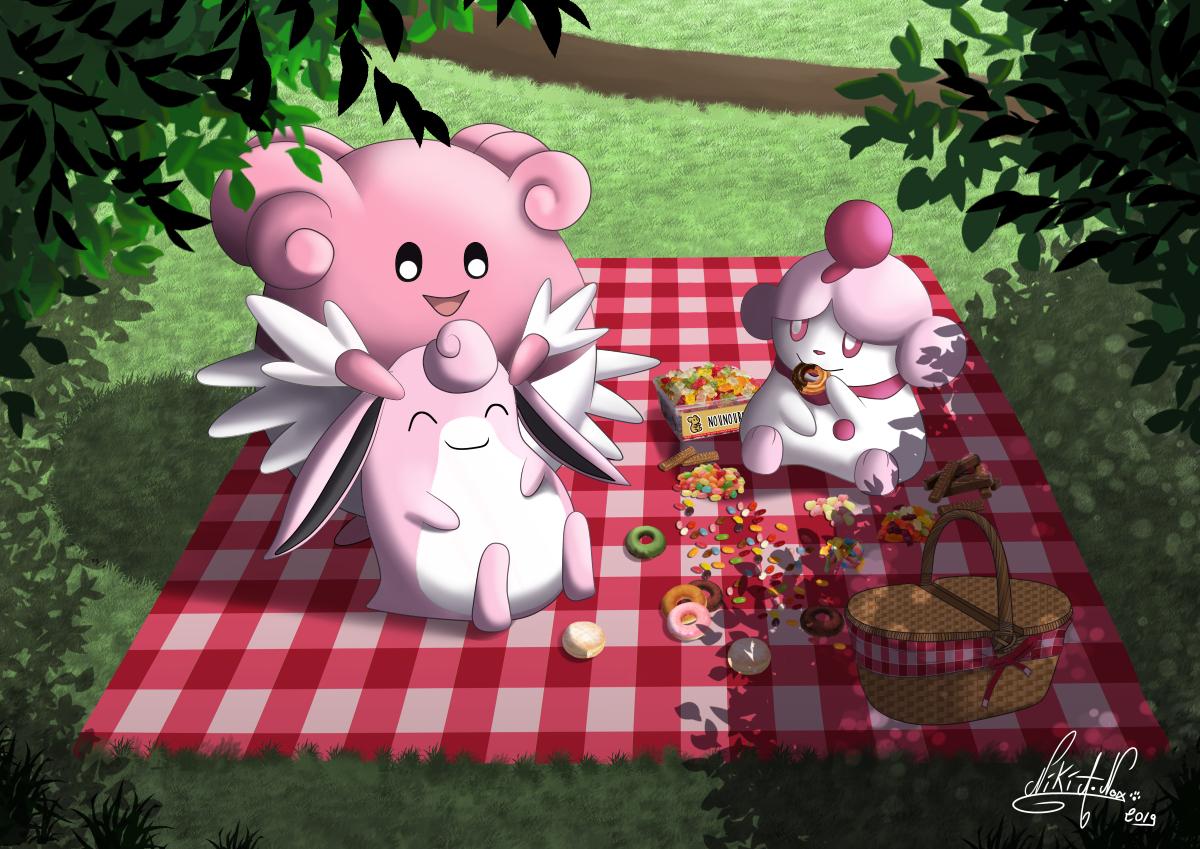 <b>PICNIC : </b><br/>Après plusieurs heures de travail, voici enfin la version finale de ma dernière commande pour une cliente fan de pokémon roses. <br>Un joli portrait de famille pour elle et ses filles qui je l'espère saura mettre un peu de soleil chez elles! :) <br>Logiciel: ''Clip Paint Studio'' <br>Juin 2019                             <br/>