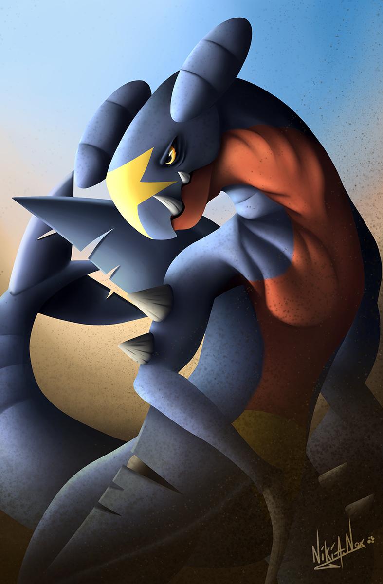 <b>GARCHOMP SANDSTORM : </b><br />Une nouvelle illustration de terminée et qui je l'espère rendra aussi bien sur vos écrans que sur le mien. :) <br>J'espère qu'elle vous plaira, il s'agit du pokémon Dragon/sol, Carchacrok. <br>Logiciel: ''Clip Paint Studio'' <br>Octobre 2019                            <br />