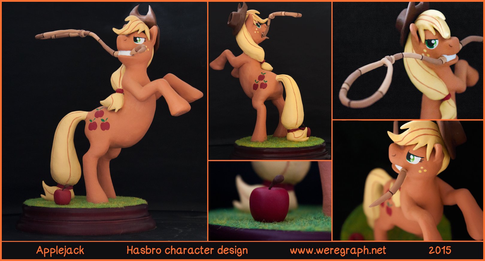 Réalisation pour l'anniversaire de mon beau-frère qui est un fan de AppleJack, personnage issu de l'univers de ''My Little Pony, Frienship Is Magic''.